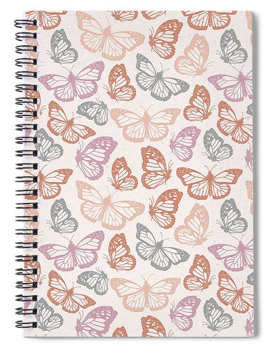 Orange and Pink Butterfly Pattern - Spiral Notebook