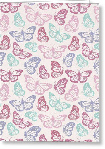 Pink Butterfly Pattern - Greeting Card