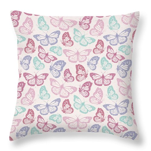 Pink Butterfly Pattern - Throw Pillow