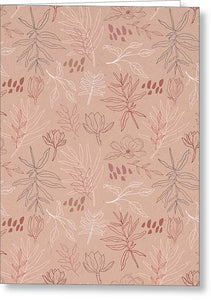 Pink Desert Leaf Pattern - Greeting Card