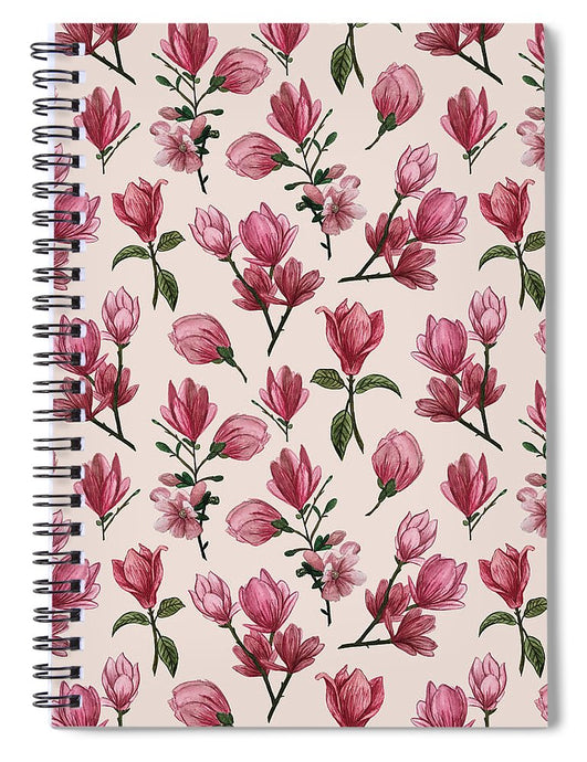 Pink Magnolia Blossoms - Spiral Notebook