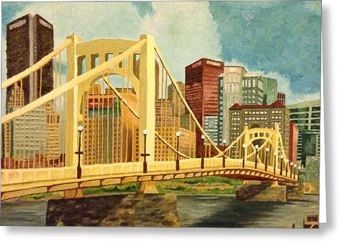 Pittsburgh City Bridge - Greeting Card