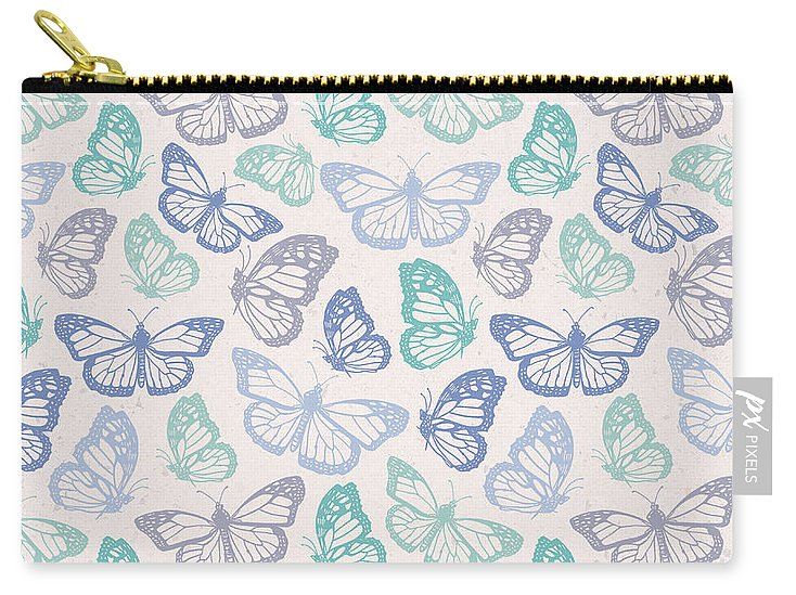 Purple and Green Butterfly Pattern - Carry-All Pouch