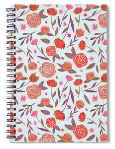 Red Floral Pattern - Spiral Notebook