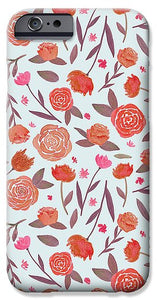 Red Floral Pattern - Phone Case