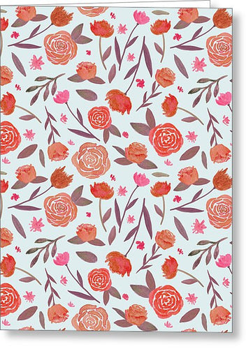 Red Floral Pattern - Greeting Card