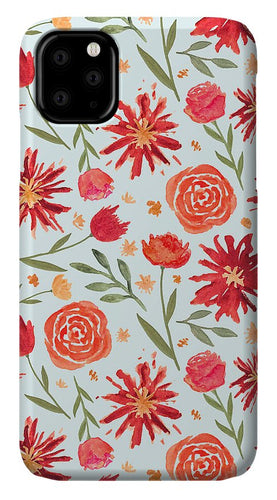Red Flower Burst Pattern - Phone Case
