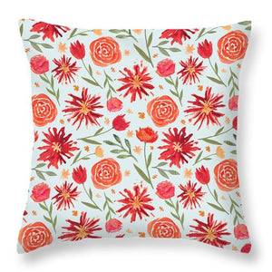Red Flower Burst Pattern - Throw Pillow