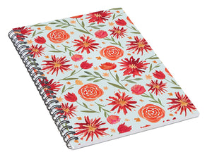Red Flower Burst Pattern - Spiral Notebook