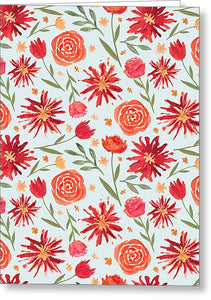 Red Flower Burst Pattern - Greeting Card