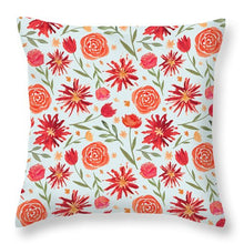 Load image into Gallery viewer, Red Flower Burst Pattern - Throw Pillow