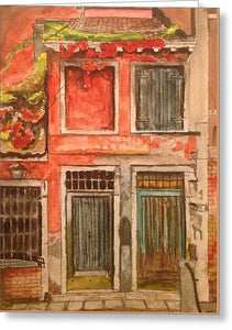 Red Wall Doorways In Italy - Greeting Card