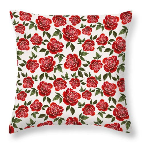Rose Watercolor Pattern - Throw Pillow