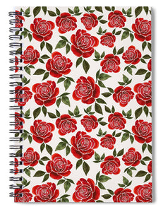 Rose Watercolor Pattern - Spiral Notebook