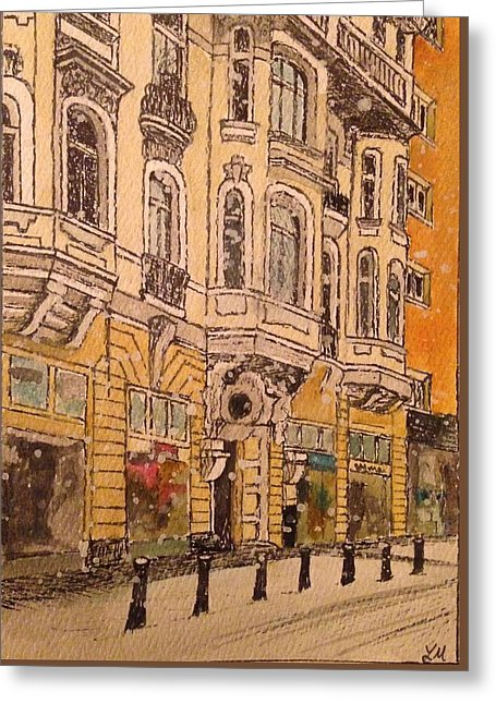 Snowy Street In Sofia - Greeting Card