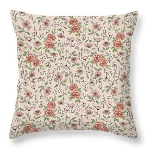 Spring Floral Pattern - Throw Pillow