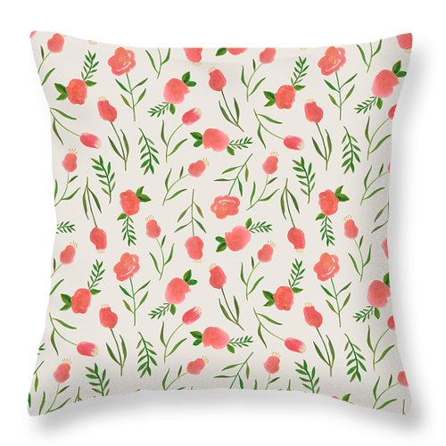 Spring Watercolor Flowers - Throw Pillow