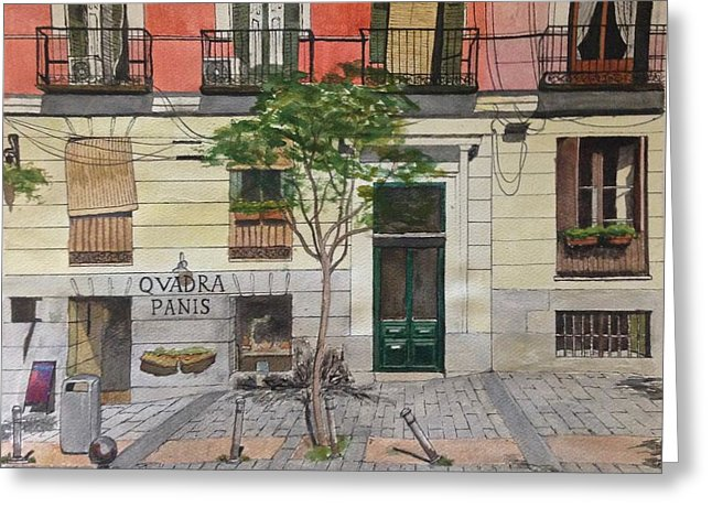 Summer Street In Madrid - Greeting Card
