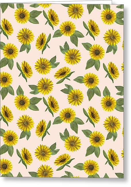 Sunflower Watercolor Pattern - Greeting Card
