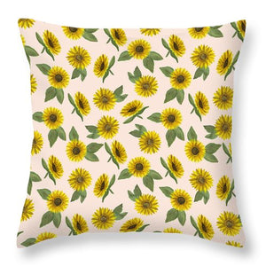 Sunflower Watercolor Pattern - Throw Pillow