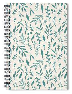 Teal Falling Leaves Pattern - Spiral Notebook