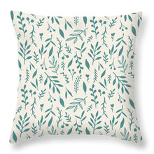 Load image into Gallery viewer, Teal Falling Leaves Pattern - Throw Pillow