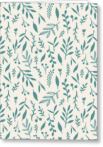 Teal Falling Leaves Pattern - Greeting Card