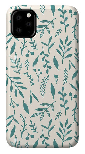 Teal Falling Leaves Pattern - Phone Case