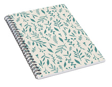 Load image into Gallery viewer, Teal Falling Leaves Pattern - Spiral Notebook