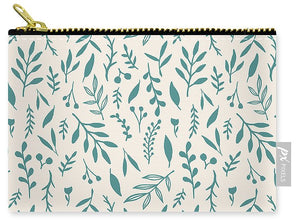 Teal Falling Leaves Pattern - Carry-All Pouch