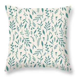 Teal Falling Leaves Pattern - Throw Pillow