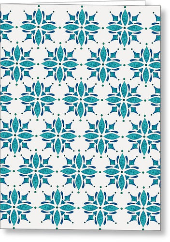 Teal Watercolor Tile Pattern - Greeting Card