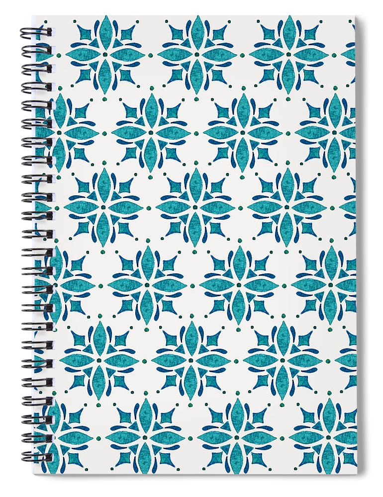 Teal Watercolor Tile Pattern - Spiral Notebook