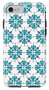 Teal Watercolor Tile Pattern - Phone Case