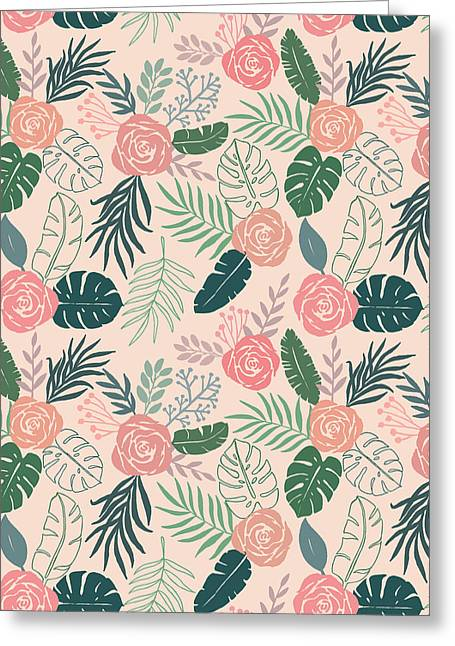 Tropical Floral Pattern - Greeting Card