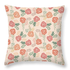 Warm Floral Pattern - Throw Pillow