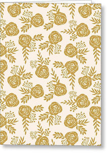 Warm Gold Floral Pattern - Greeting Card