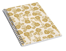 Load image into Gallery viewer, Warm Gold Floral Pattern - Spiral Notebook