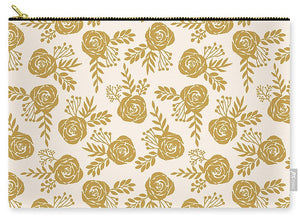 Warm Gold Floral Pattern - Carry-All Pouch
