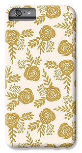 Warm Gold Floral Pattern - Phone Case
