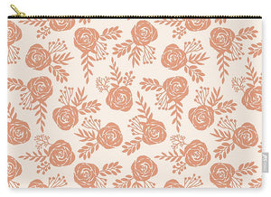 Warm Orange Floral Pattern - Carry-All Pouch