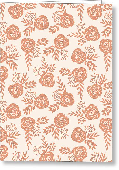 Warm Orange Floral Pattern - Greeting Card