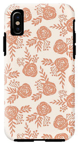 Warm Orange Floral Pattern - Phone Case