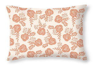 Warm Orange Floral Pattern - Throw Pillow