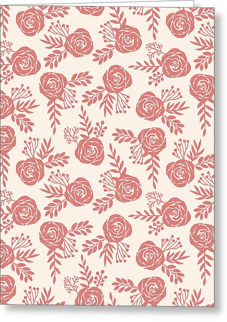 Warm Pink Floral Pattern - Greeting Card