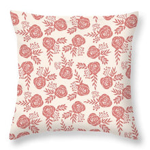 Load image into Gallery viewer, Warm Pink Floral Pattern - Throw Pillow