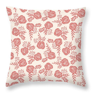 Warm Pink Floral Pattern - Throw Pillow