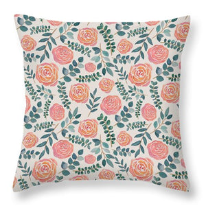 Watercolor Floral Pattern - Throw Pillow