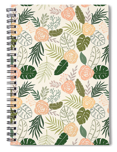 Yellow and Green Tropical Floral Patten - Spiral Notebook