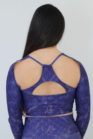 Close Up of Amethyst Scales Crop Top Back